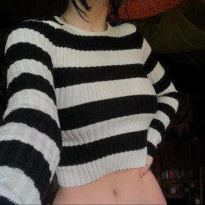 Black and white cropped sweater